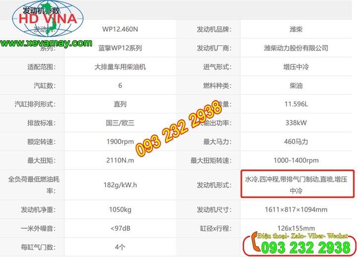 Bán động cơ Weichai công suất 460 Ps giá tốt nhất