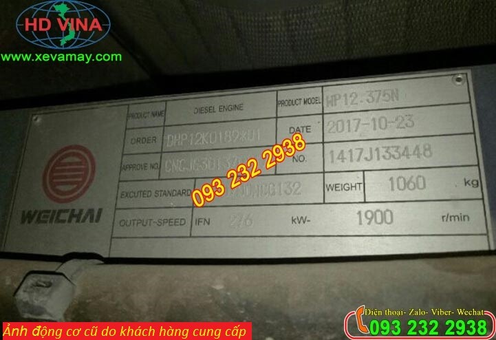 Bán động cơ xe khách Weichai