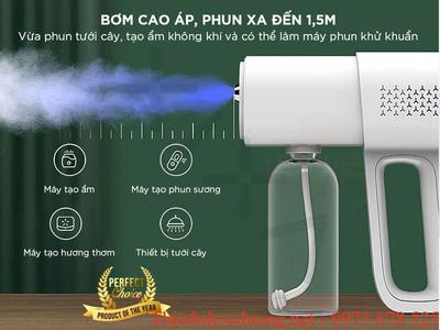 Máyphun, xịtkhử khuẩn 99.8%tích hợptia UVK5, cầm tay tích hợp pin sạc