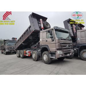 Bán xe ben 4 chân Howo thùng vuông nhập khẩu nguyên chiếc, nhiều nhíp, tháp ben hyva FCA157-4 bản đủ