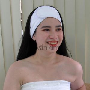 Băng Đô Spa Cài Tóc Vải Xén Nhung - 5x60 Trắng