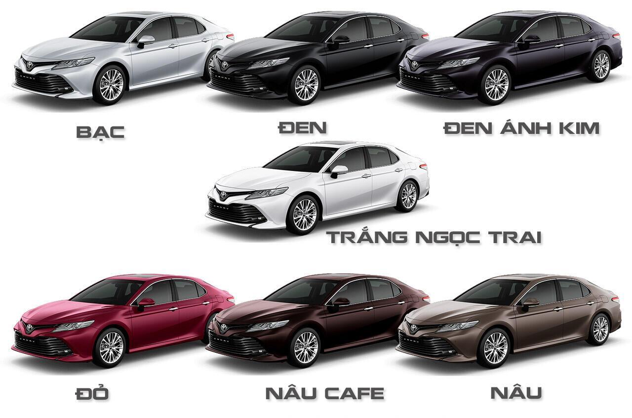 Bảng màu xe Toyota Camry nhập khẩu 2019