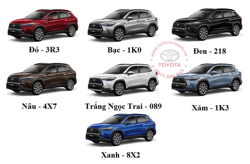 Bảng các màu xe Toyota corolla Cross 2021 bán ở Việt Nam
