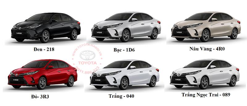 Bảng màu xe Toyota Vios 2021