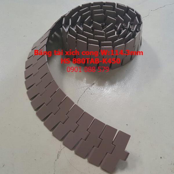 Băng tải xích nhựa cong HS 880TAB-K450
