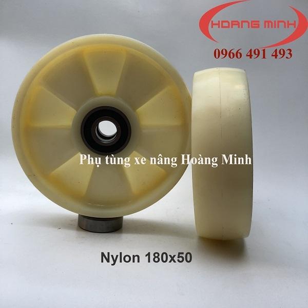 Bánh xe nâng tay Nylon 180x50 giá rẻ- Phụ tùng xe nâng Hoàng Minh
