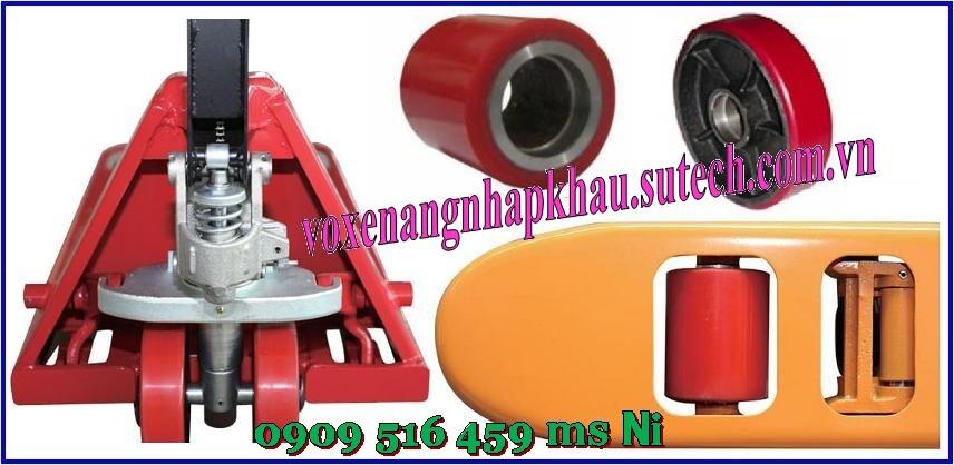 Bánh xe nâng tay pu đỏ 80x90mm