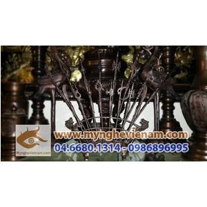 Bát bửu, chấp kích, 8 binh khí bày trên bàn thờ 35cm