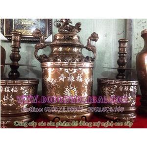 Bộ bát hương thờ cúng khảm bạc