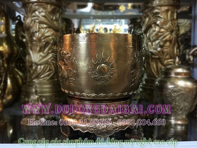 Bát hương đồng nguyên chất mẫu Huế đk 20cm