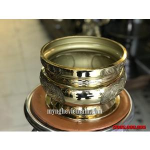Bát hương chữ Phật hoa sen đúc nổi cùng rồng chầu nguyệt 20cm