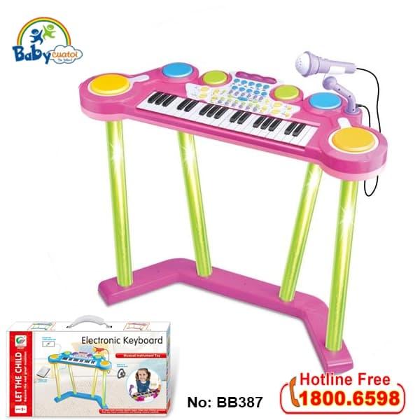 Đồ chơi mô hình BBT GLOBAL - Bộ đàn Organ và trống điện tử đứng cho bé - BB387