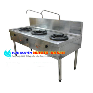 Bếp Á công nghiệp 3 họng 2 vòi nước