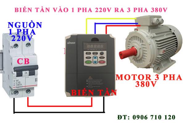 Biến tần vào 1 pha 220v ra 3 pha 380v đại lý tại Long AN