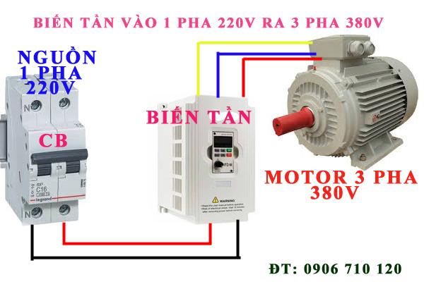 biến tần vào 1 pha 220V ra 3 pha 380v cho đông cơ 5.5KW