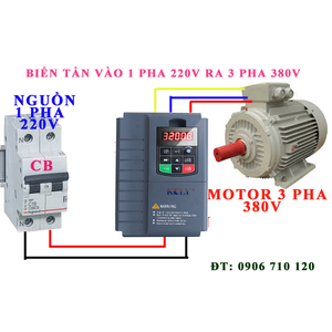 Biến tần vào 1 pha 220V ra 3 pha 380V 7.5kw ,10hp , Biến tần KCLY