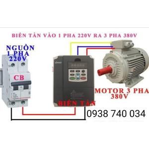 Biến tần vào 1 pha 220V ra 3 pha 380v cho động cơ 2.2KW , 3HP