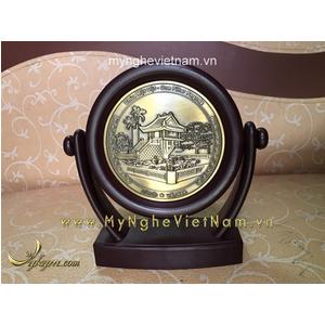 Biểu trưng đĩa xoay mặt Chùa 1 cột quà tặng để bàn