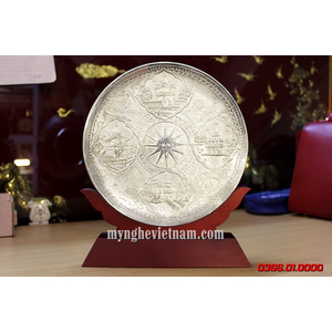 Biểu trưng đĩa đồng mạ bạc 4 cảnh Hà Nội Việt Nam quà tặng để bàn cao cấp
