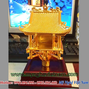 Biểu tượng chùa 1 cột bằng đồng mạ vàng, quà tặng đối tác cao cấp