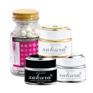 Bộ 4 sản phẩm Trị Nám Trắng da Sakura WHITENING NIGHT(DAY) CREAM