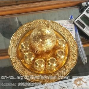 Bộ ấm chén đồng mạ vàng, quà tặng mỹ nghệ cao cấp