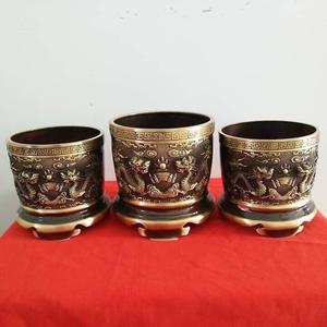 Bộ ba bát hương đồng thờ cúng song long đúc nổi đẹp
