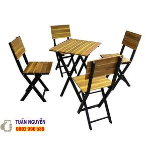 Bộ bàn ghế cafe gỗ