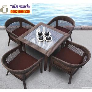 Bộ bàn ghế cafe gỗ mây