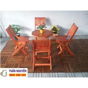 Bộ bàn ghế cafe xếp gỗ