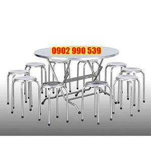 Bộ bàn ghế inox tròn 1m2 loại tốt