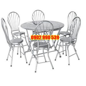 Bộ bàn tròn 6 ghế inox
