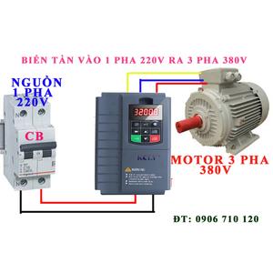 Bộ chuyển đổi nguồn 1 pha 220V ra 3 pha 380V 3.7kw , 5hp ,Biến tần kcly