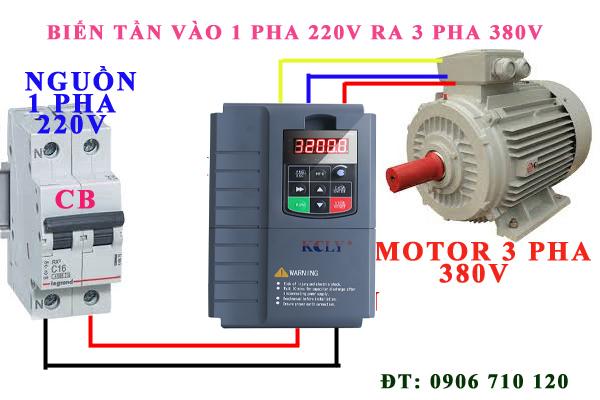 Bộ chuyển đổi nguồn 1 pha 220V ra 3 pha 380V 7.5kw , 10hp ,Biến tần kcly