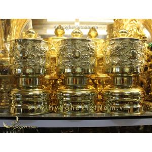 Bộ đài nước đk 15cm cao 25cm bằng đồng gò nổi