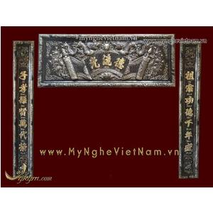 Bộ đại tự khung đồng vàng nguyên chất 1m55 giả cổ