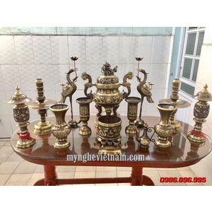 Bộ đỉnh rồng đúc máy hàng kỹ đầy đủ cao 60cm bày bàn thờ gia đình