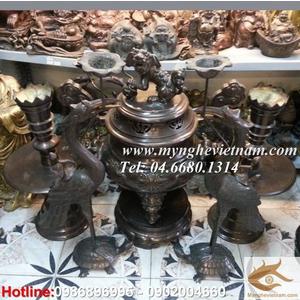 bộ đỉnh thờ hoa sòi 42cm bằng đồng hun đen giả cổ
