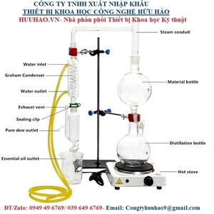 Bộ dụng cụ 1000 ml chưng cất chiết xuất tinh dầu dạng đứng bằng hơi nước mini