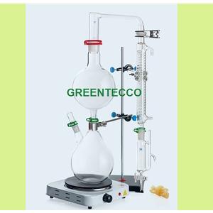 Bộ dụng cụ 1000 ml chưng cất chiết xuất tinh dầu dạng đứng bằng hơi nước mini- chất liệu thủy tinh