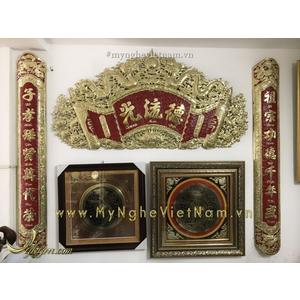 Bộ hoành phi câu đối cuốn thư đồng vàng sơn đỏ 1m55 ốp cột