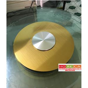 Bộ mâm xoay bàn ăn inox 304 sọc vàng BMX13