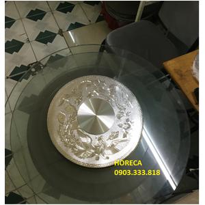 Bộ mâm xoay bàn ăn rồng phụng 3D màu bạc BMX12
