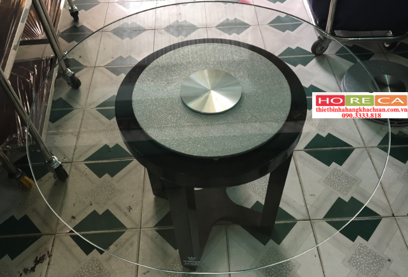 Bộ mâm xoay bàn ăn kim tuyến bạc BMX17