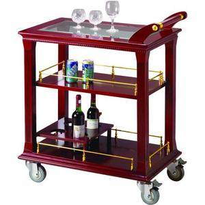 Xe phục vụ rượu trà 3 tầng bằng gỗ C02