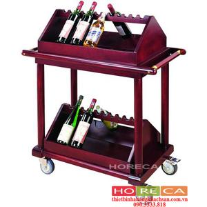 Xe phục vụ rượu 2 tầng gỗ C29