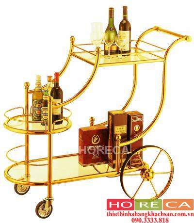 xe phục vụ rượu inox vàng C30