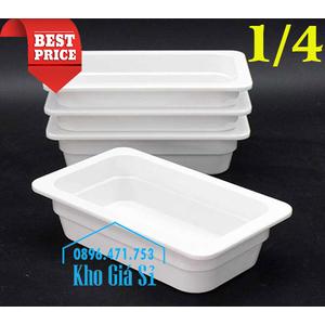 Khay melamine 1/4 chiều cao 6.5cm màu trắng đựng thức ăn