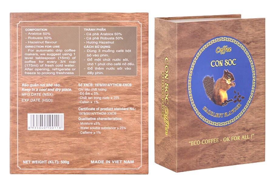 Cà phê Con Sóc HỘP màu XANH 500gram