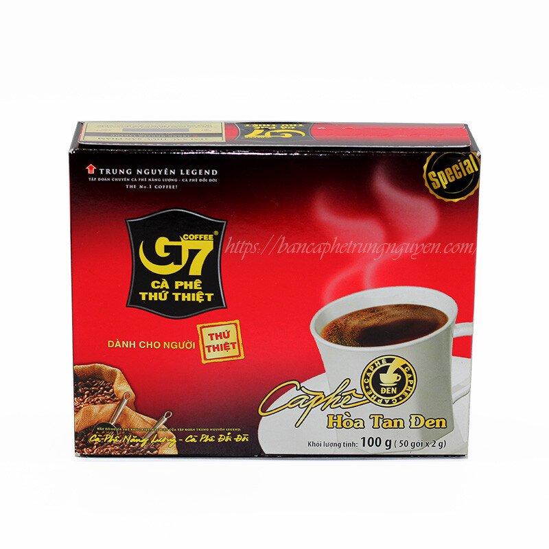 Cà Phê G7 Hòa Tan Đen Trung Nguyên Hộp 50 Gói